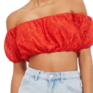RED LACE OFF THE SHOULDER CROP TOP NWT